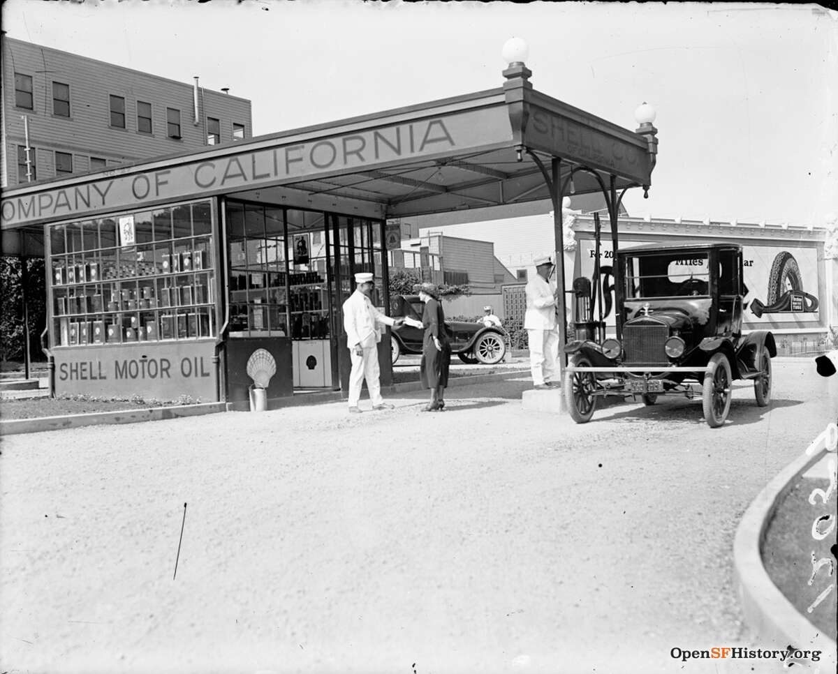 A Shell gas station somewhere in San Francisco in 1921.