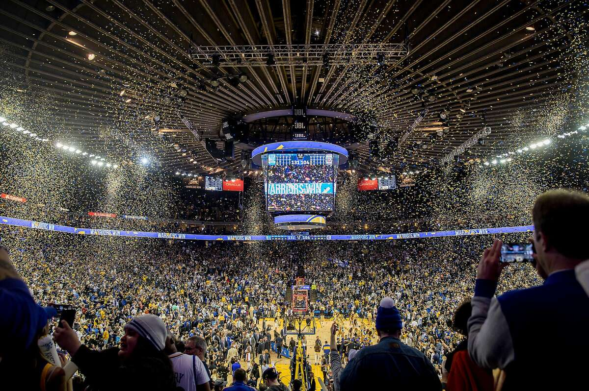 Confetti falls after the Golden State Warriors defeated the Los Angeles Clippers held Oracle Arena in Oakland, Calif. Sunday, April 7, 2019.