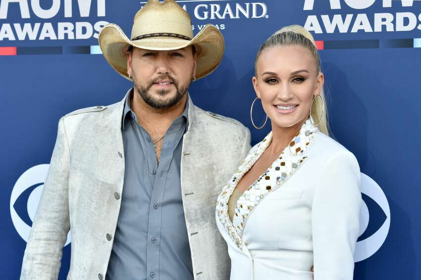 LAS VEGAS, NEVADA - APRIL 07: (L-R) Jason Aldean and Brittany Kerr attend the 54th Academy Of Country Music Awards at MGM Grand Hotel & Casino on April 07, 2019 in Las Vegas, Nevada. (Photo by Jeff Kravitz/FilmMagic)