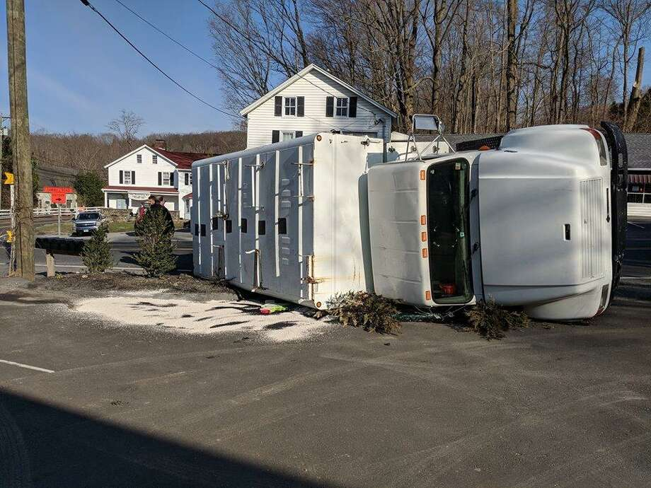 An overturned truck shut down part of Route 39 in New Fairfield on Sunday, April 7, 2019. Photo: New Fairfield Volunteer Fire Department / Facebook