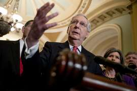 Senate Majority Leader Mitch McConnell of Ky., speaks to members of the media following a Senate policy luncheon on Capitol Hill in Washington, Tuesday, March 26, 2019. (AP Photo/Andrew Harnik)