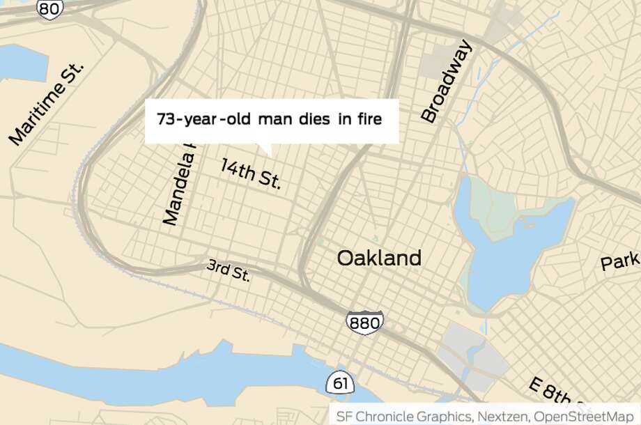 A 73-year-old man died Monday morning in a fire at at 16th and Linden streets in Oakland. Photo: Chronicle Graphic