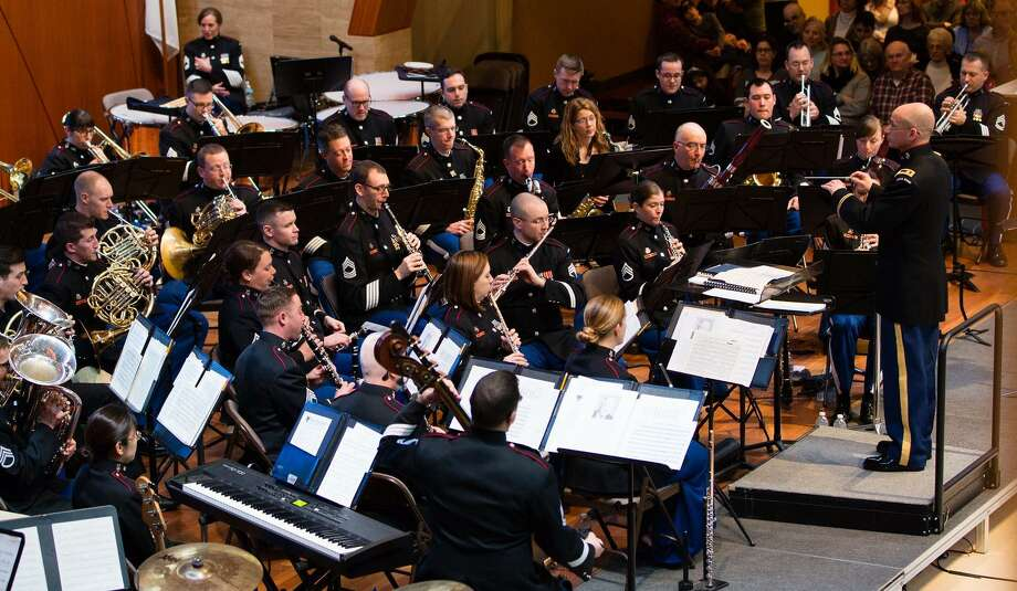 The West Point Band, above, will perform alongside the New Milford High School wind ensemble April 22 in a concert at NMHS. Photo: Courtesy Of West Point Band / The News-Times Contributed