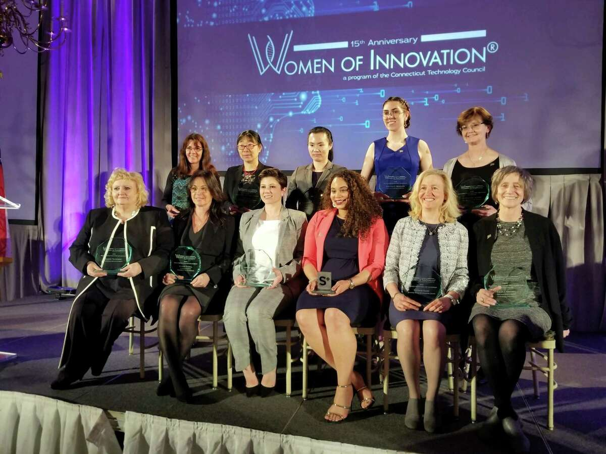 Stephany Santos and Laura Grabel of Middletown were among 15 women honored for their innovative work at the Connecticut Technology Council awards March 27 at the Aqua Turf Club in Southington.