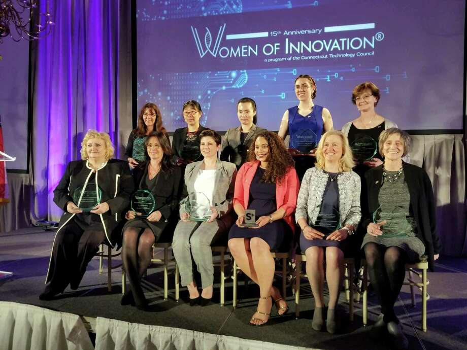 Stephany Santos and Laura Grabel of Middletown were among 15 women honored for their innovative work at the Connecticut Technology Council awards March 27 at the Aqua Turf Club in Southington. Photo: Contributed Photo
