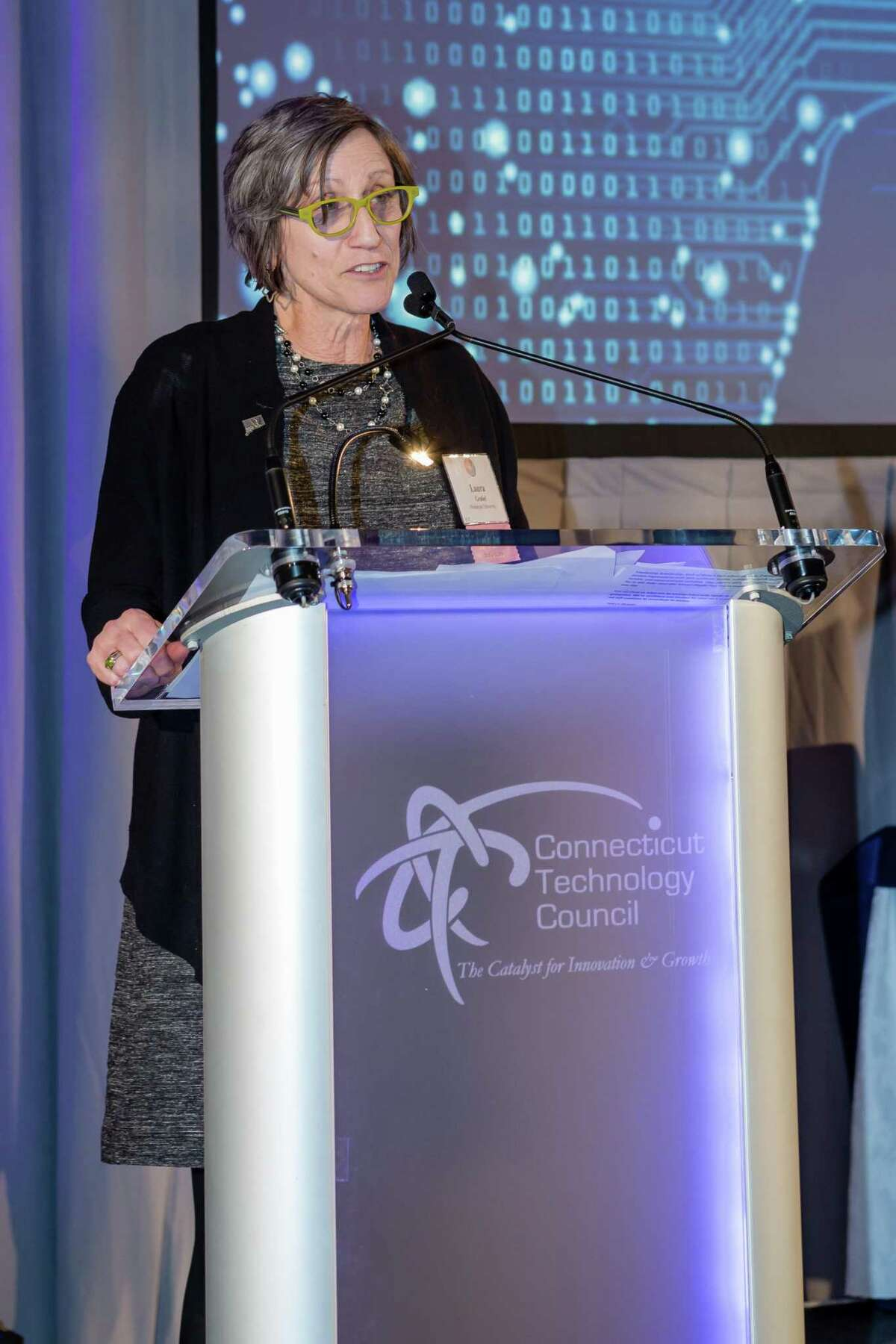 Laurel Grable, the Laura B. Dachs chair of science and society at Wesleyan University, was honored for her leadership at the Connecticut Technology Council Women of Innovation Awards March 27.