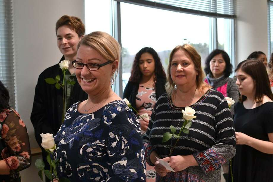 The Middlesex Community College chapter of Phi Theta Kappa, Beta Gamma Xi, inducted 53 new members at a ceremony March 29 on the Middletown campus. Photo: Contributed Photo