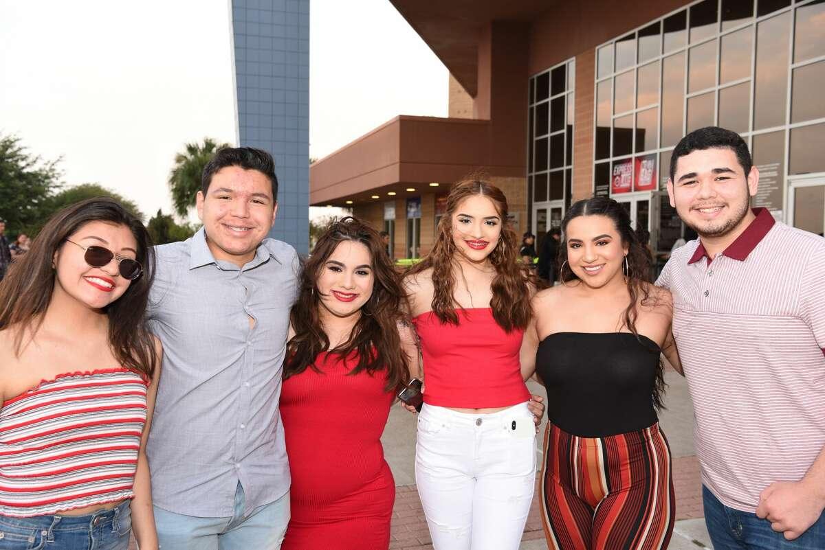 Saria Ruiz, Thomas Flores, Anna Liza Castilla, Adamaris Castilla, Alondra Castilla and Ricardo Castellano pose for a photo during the Bad Bunny concert.