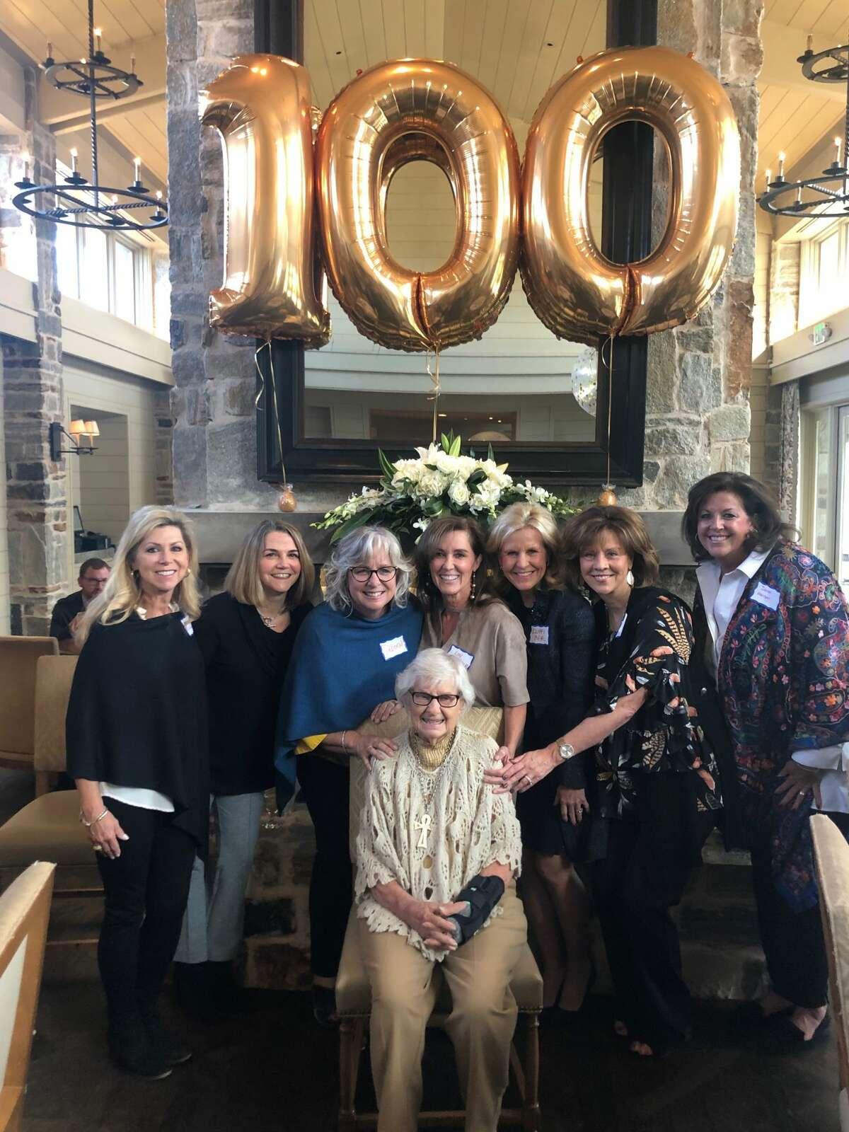 Stork party: Molly Williams, from left, Jeanne Pollard, Deborah Dean, Lyn Ochsner, Cliffy Beal, Annette Culp and Janet Hanson; and Pauline Stork, front