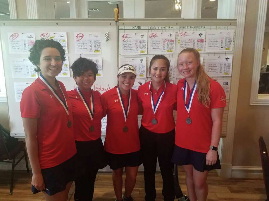 The Dawson girls' golf team finished second in the District 23-6A tournament at Sienna Plantation golf course to qualify for the regional tournament April 23-24 at Eagle Pointe Golf Course in Mont Belvieu. Team members are (left to right) senior Bianca Salinas, sophomore Alee Matildo, senior Sophia Aguirre, freshman Isabella Partida and senior Kristin Ensmann. Photo: Submitted Photo
