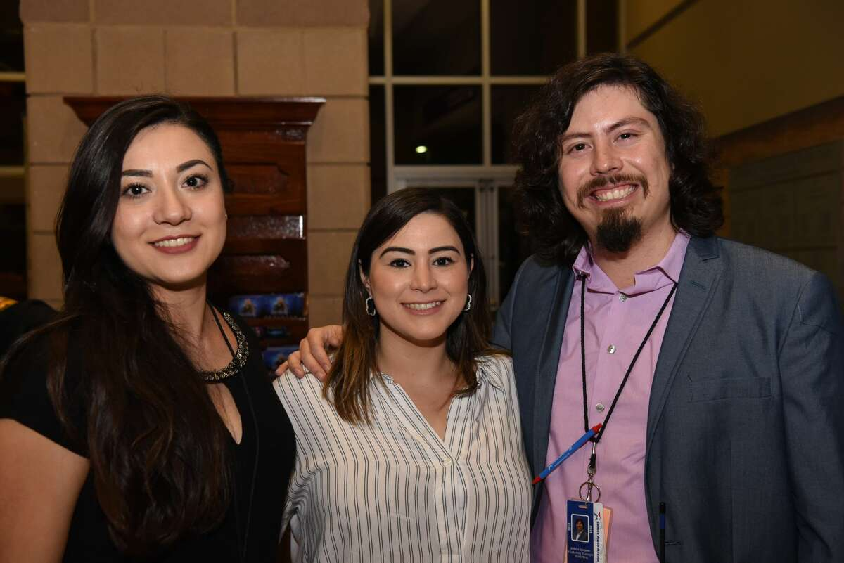 Daniela Daisy, Sylvia Delgado and Jorge Quijano pose for a photo during Los Angeles Azules concert.