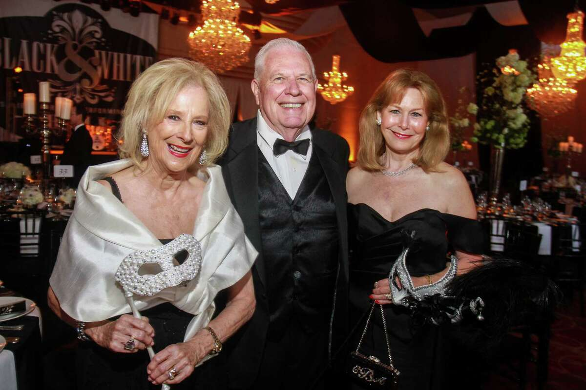 Co-chairs Mary Ann and David McKeithan, from left, and Cheryl Byington at the Society for the Performing Arts Black & White Ball.