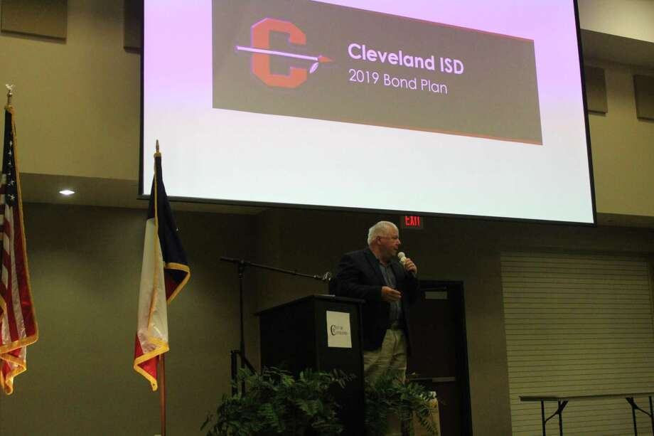 Cleveland ISD superintendent Darrell Myers addressing the community at the Cleveland Chamber of Commerce luncheon on April 4 at the Cleveland Civic Center Photo: Staff Photo/Marcus Gutierrez