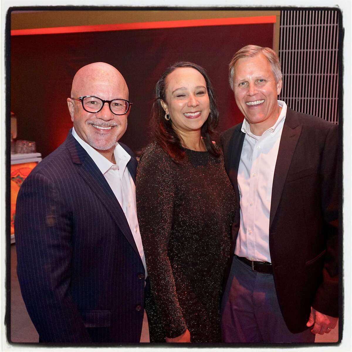 Steve Kawa (left) with SF City Administrator Naomi Kelly and his husband, Dan Henkle, at YBCA's This is Not a Gala. March 30, 2019.