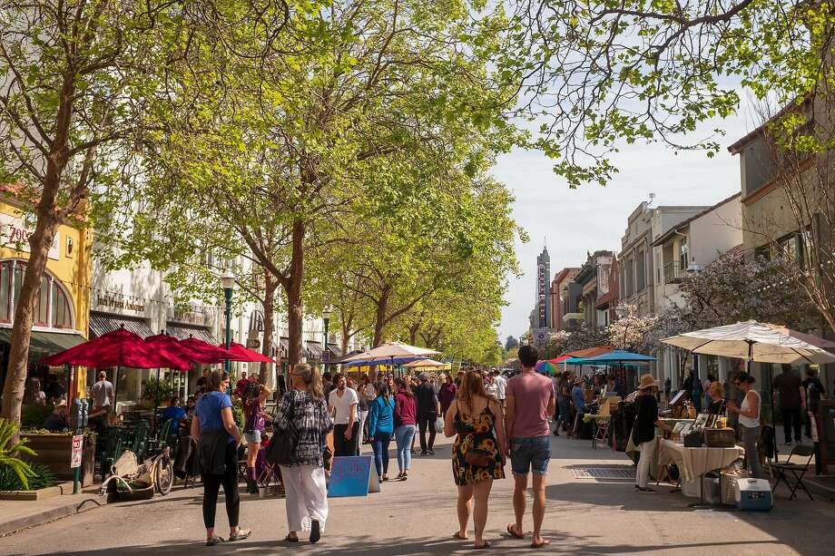A street fair on Pacific Avenue in downtown Santa Cruz, Calif. on April 7, 2019. Photo: Nic Coury, Special To The Chronicle