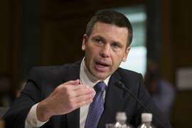 FILE - In this Wednesday, March 6, 2019, file photo, U.S. Customs and Border Protection Commissioner Kevin McAleenan speaks during a hearing of the Senate Judiciary Committee on oversight of Customs and Border Protection's response to the smuggling of persons at the southern border, in Washington. President Donald Trump said in a tweet on Sunday, April 7, 2019, that McAleenan will become the acting head of the Department of Homeland Security, after he accepted the resignation of Homeland Security Secretary Kirstjen Nielsen. (AP Photo/Alex Brandon, File)