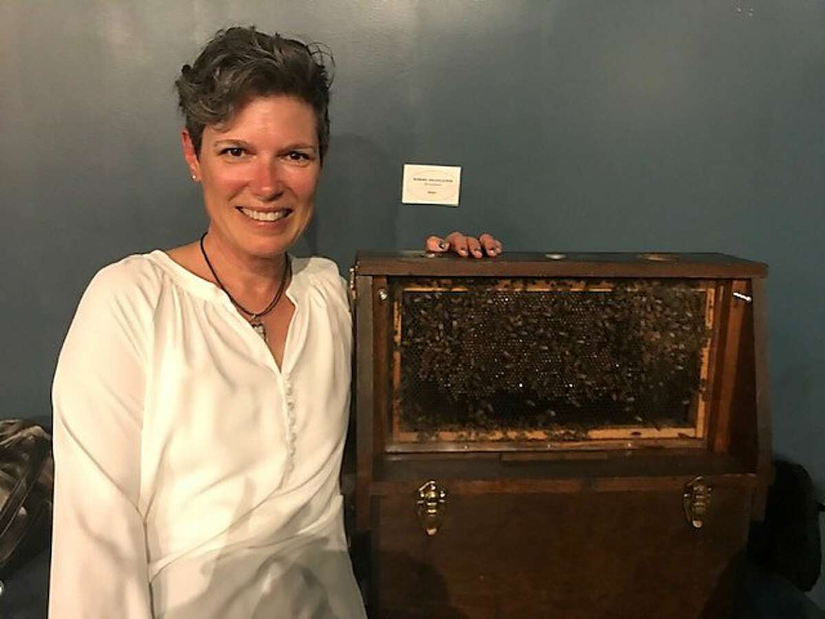 Meredith May, author of 'The Honey Bus,' with hive