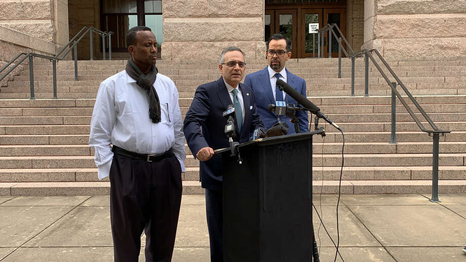 Hassan Abdi, left, brother of Mucaad Hussein Abdalla, killed in the Ethiopian Airlines crash; Nomi Husain of Husain Law + Associates; and Omar Khawaja of the Law Offices of Omar Khawaja. They held a press conference in downtown Houston on Monday, April 8, 2019, to announce a wrongful death lawsuit against Boeing.