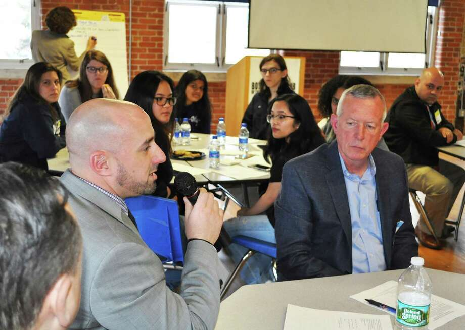John LaRovera, director of Ansonia Schools Math and Science programs, suggests a way to improve parental involvement in their children's education during the Equity in Education discussion April 4, 2019 at the Boys and Girls Club in Ansonia. Photo: / Eileen Ehman /Ansonia Board Of Education