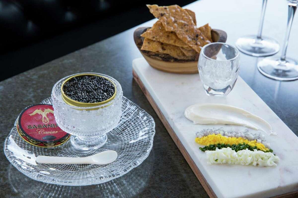 Siberian osetra caviar service with accompaniments at 1751 Sea & Bar