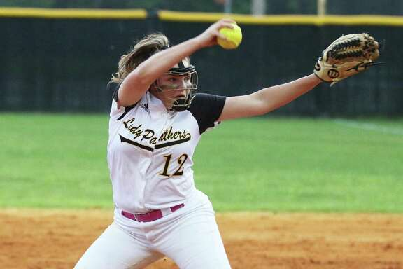 Liberty Lady Panthers freshman relief pitcher Lillie Wakefield delivers a strike over the plate Friday night in their district matchup against Shepherd.