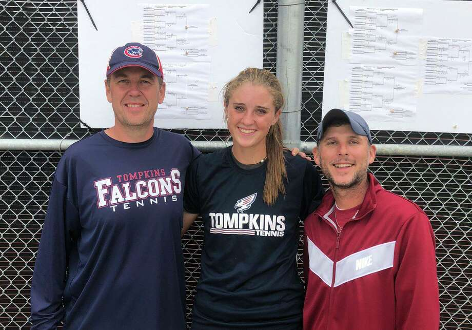Tompkins' Ava Melaerts won the District 19-6A girls singles championship and will play in the Region III-6A Tournament, April 17-18 in Deer Park. Photo: Tompkins High School / Tompkins High School