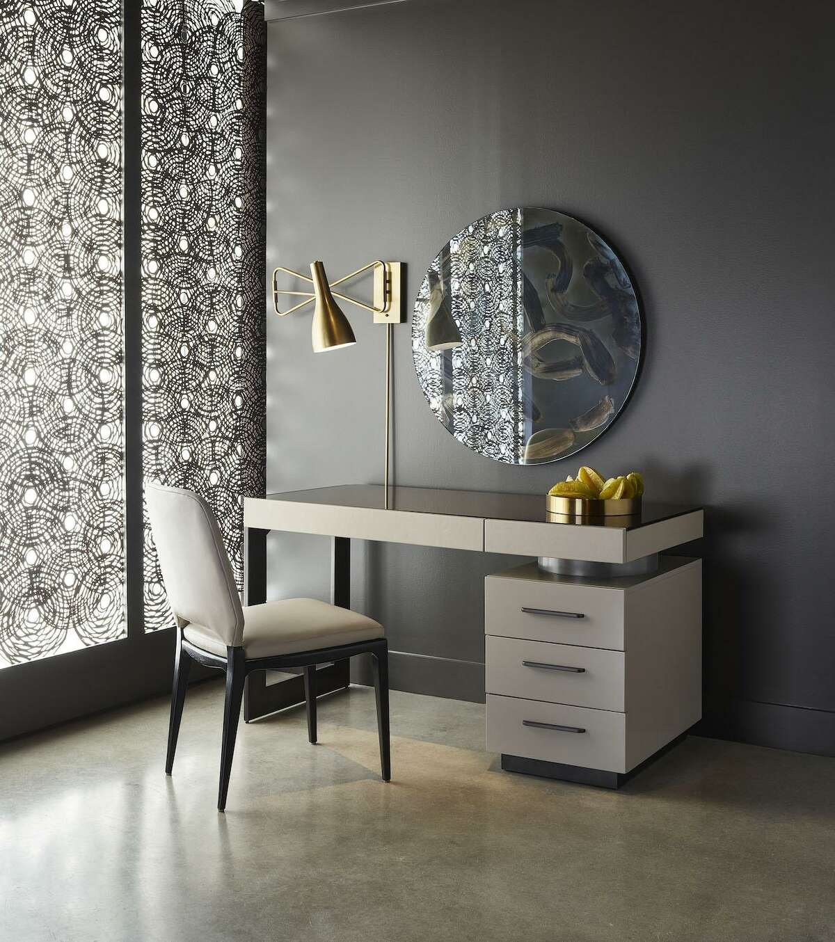 This writing desk is part of the Nina Magon for Universal Furniture: A Design Collaboration. Magon is the creative director and founder of the Houston-based Contour Interior Design firm. Her new European modern furniture collection launched April 6, 2019, at the High Point, N.C., Furniture Market.