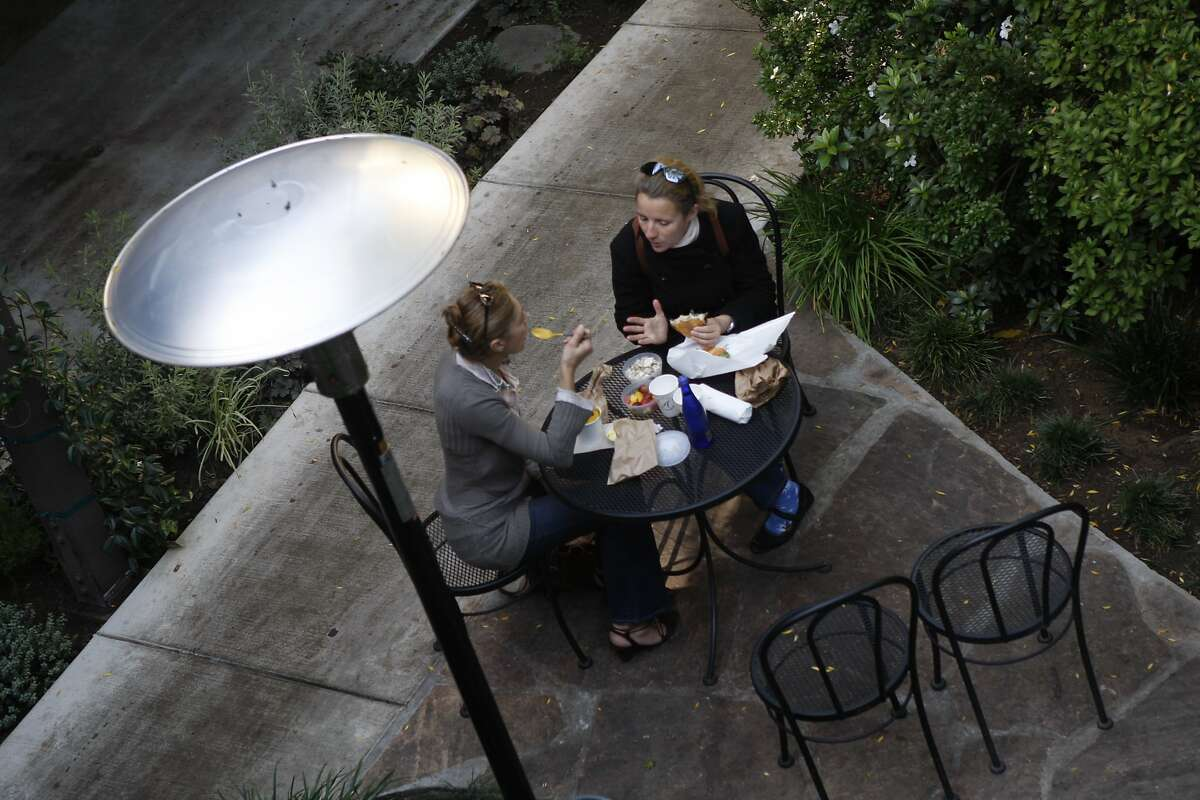 Katia Claude-Ramstein and Catherine Boucher enjoy lunch on the back patio at Arlequin Cafe in San Francisco photographed on Tuesday, November 18, 2008.