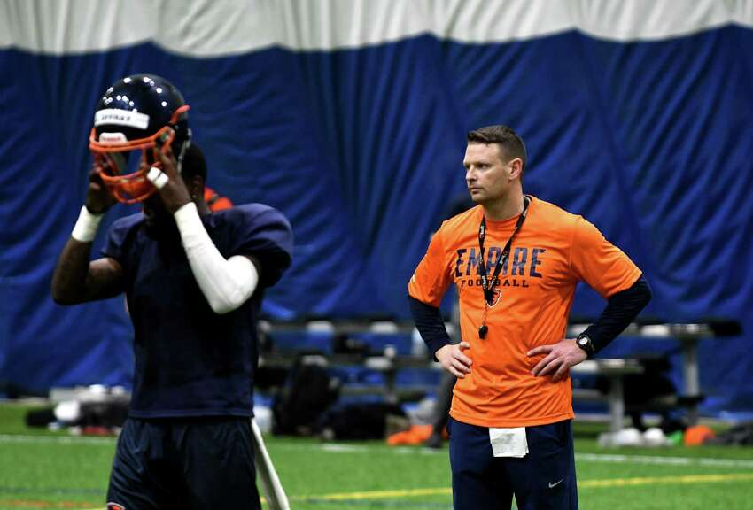 Rob Keefe, head coach for the Albany Empire, oversees a practice session on Monday, April 8, 2019, at the new Afrim's Sports Park facility in Colonie, N.Y. The Empire begin their season on April 27 with a home game against Columbus. (Will Waldron/Times Union)