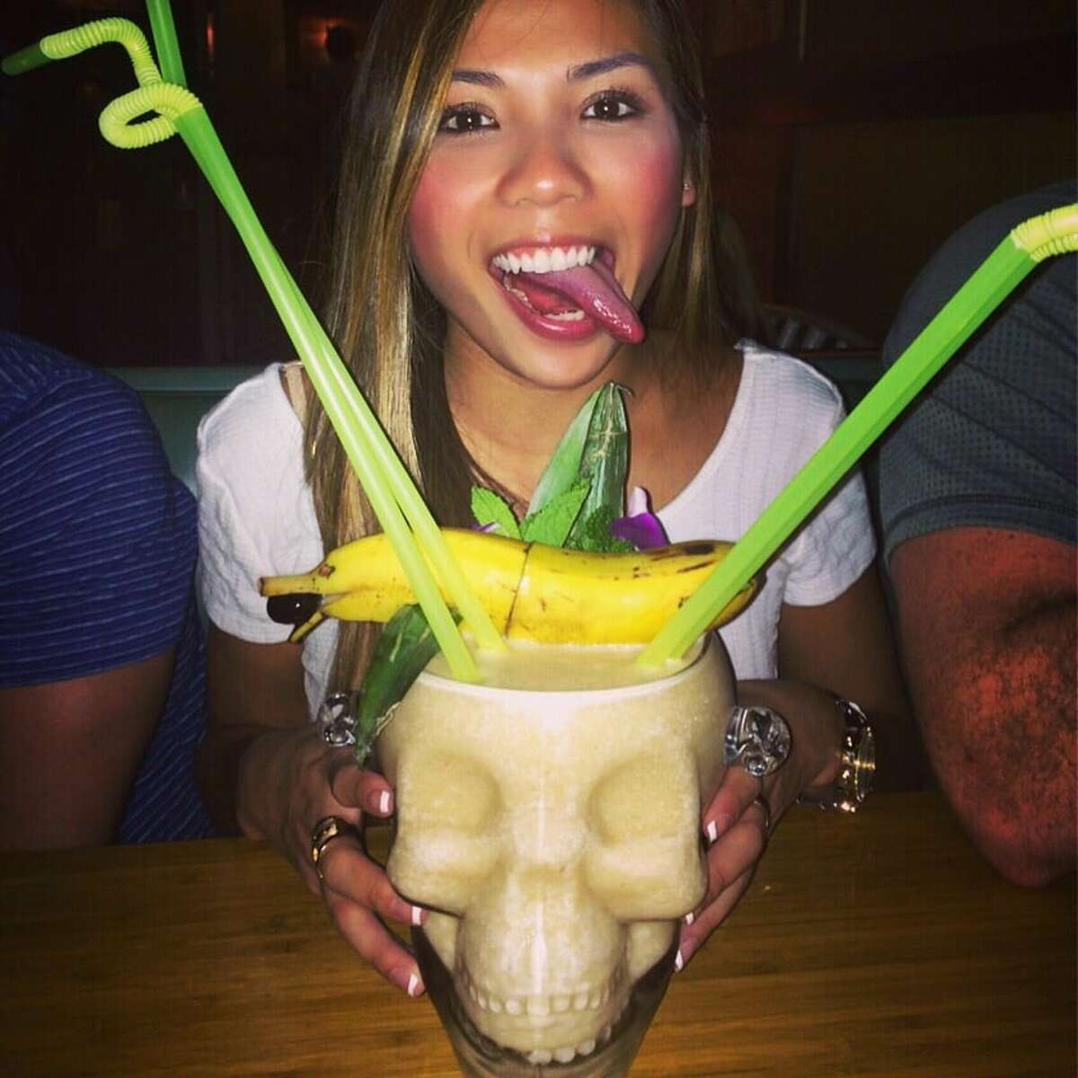 Lei Low6412 N Main Street, Ste. C, HoustonThecrystal skulldrinks at Lei Low are made for parties of four or more and come decked out with unique island garnishes, such as bananas shaped like dolphins.Photo courtesy Michelle H/Yelp