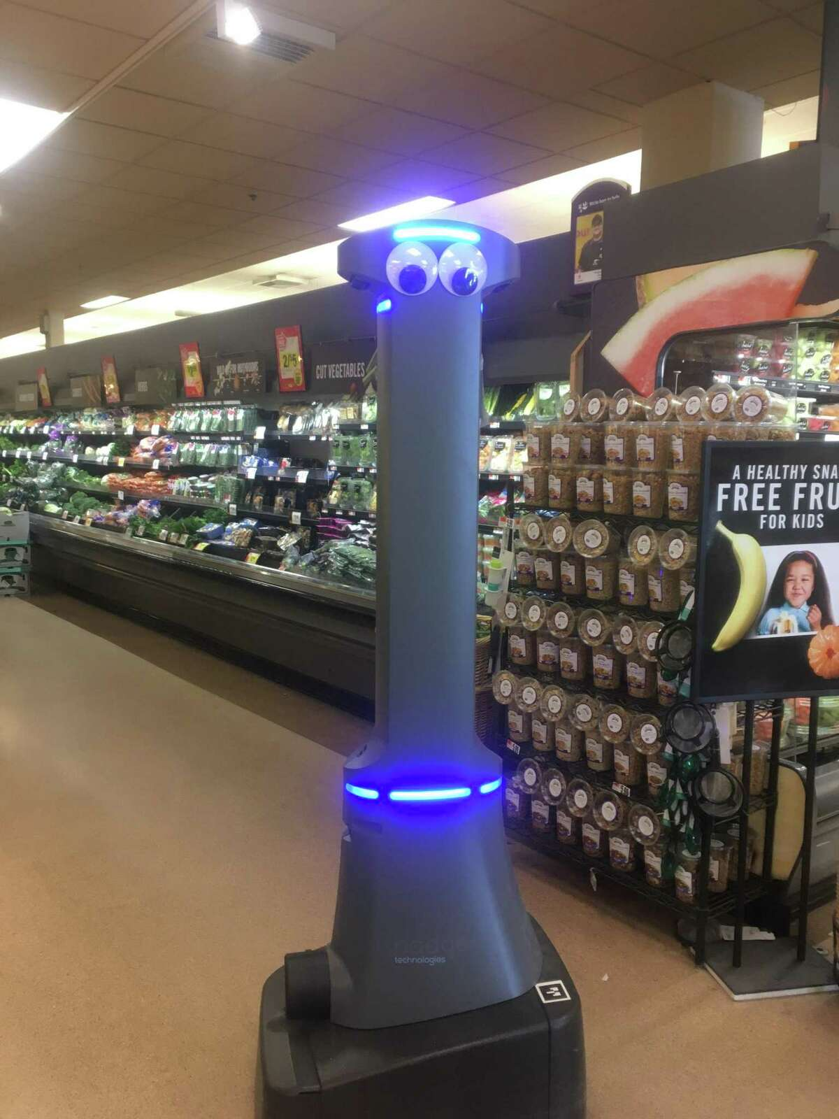 Marty the robot roaming the aisles at the Stop & Shop in Madison.