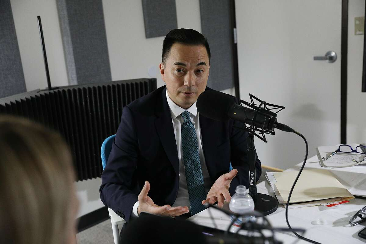 Michael Lambert, who Mayor London Breed has just named the city's librarian, talks during a podcast with reporter Heather Knight on Wednesday, March 27, 2019 in San Francisco, Calif.