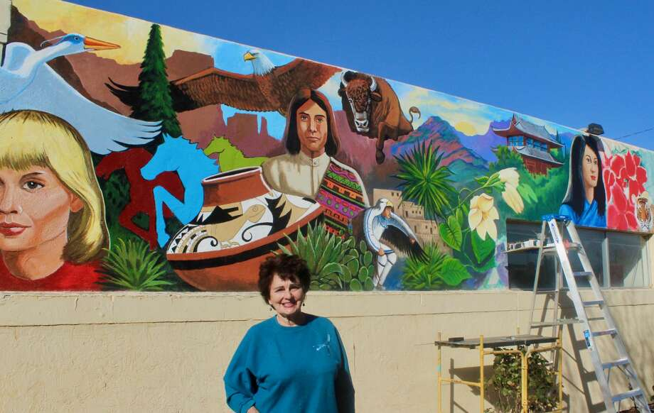 Artist Janet Pontius has painted a mural on an exterior wall of the Cogdell Learning Center. Photo: Courtesy Photo