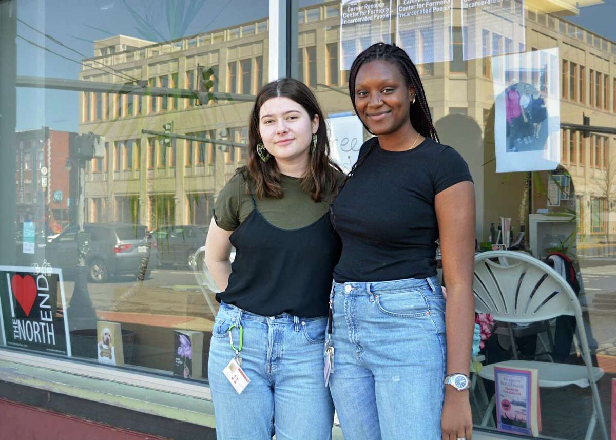 Wesleyan University students Asiyah Herrero and Alphina Kamara are among 10 who volunteer at the North End Action Team in Middletown. They've created a Pursuing Re-entry Employment Possibilities Center, which aims to assist formerly incarcerated people, as well as residents of the North End, in search of stable employment.