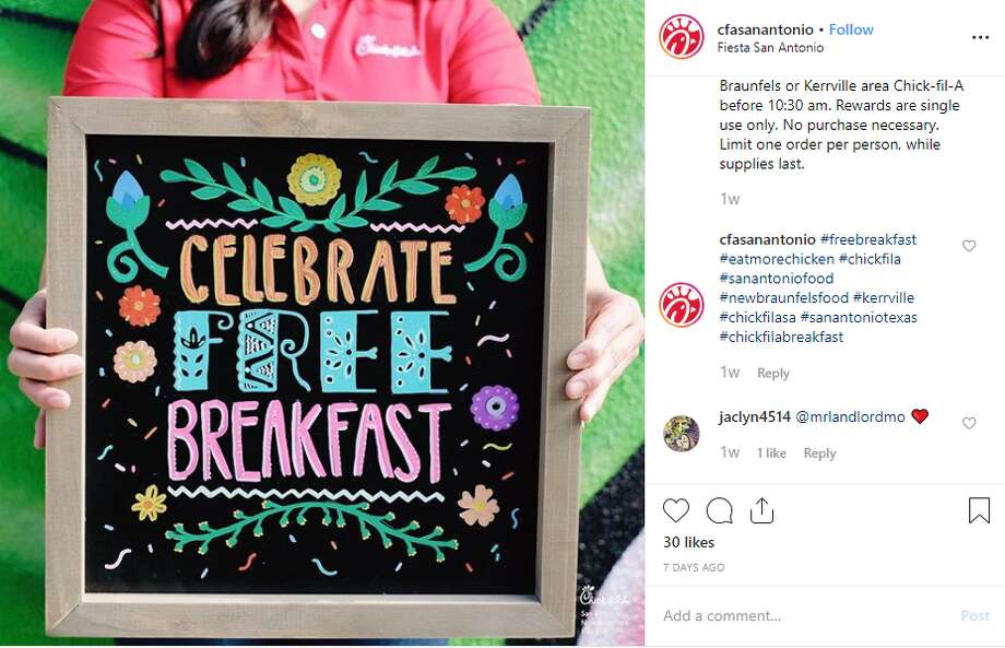 image relating to Chickfila Printable Coupon identify Chick-fil-A serving totally free breakfast in just San Antonio during