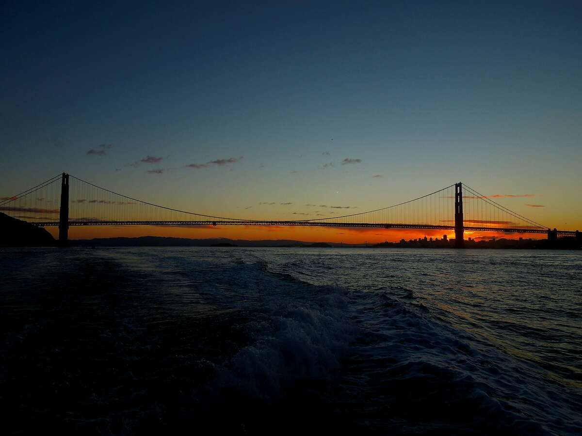 That's why it's called the Golden Gate -- dawn out to sea on the Wacky Jacky out of San Francisco, looking back at the Golden Gate and mouth of the Bay while route to the fishing grounds