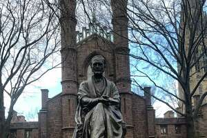 Statue of Theodore Dwight Woolsey, president of Yale University from 1846 to 1871 (lived 1801-89) in the Old Campus quad, donated in 1896. His toe is shiny from people rubbing it for good luck.