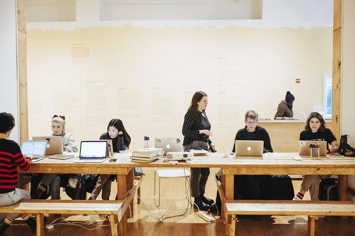 Aspiring contributors gathered at Columbia College Chicago to learn how to write and edit articles on Wikipedia, Feb. 15, 2019. The event was organized by Art+Feminism, a campaign to improve the site's representation of women and nonbinary individuals. Unlike at social networks such as Facebook and Twitter, the people who respond to reports of harassment are largely unpaid volunteers (Danielle Scruggs/The New York Times)
