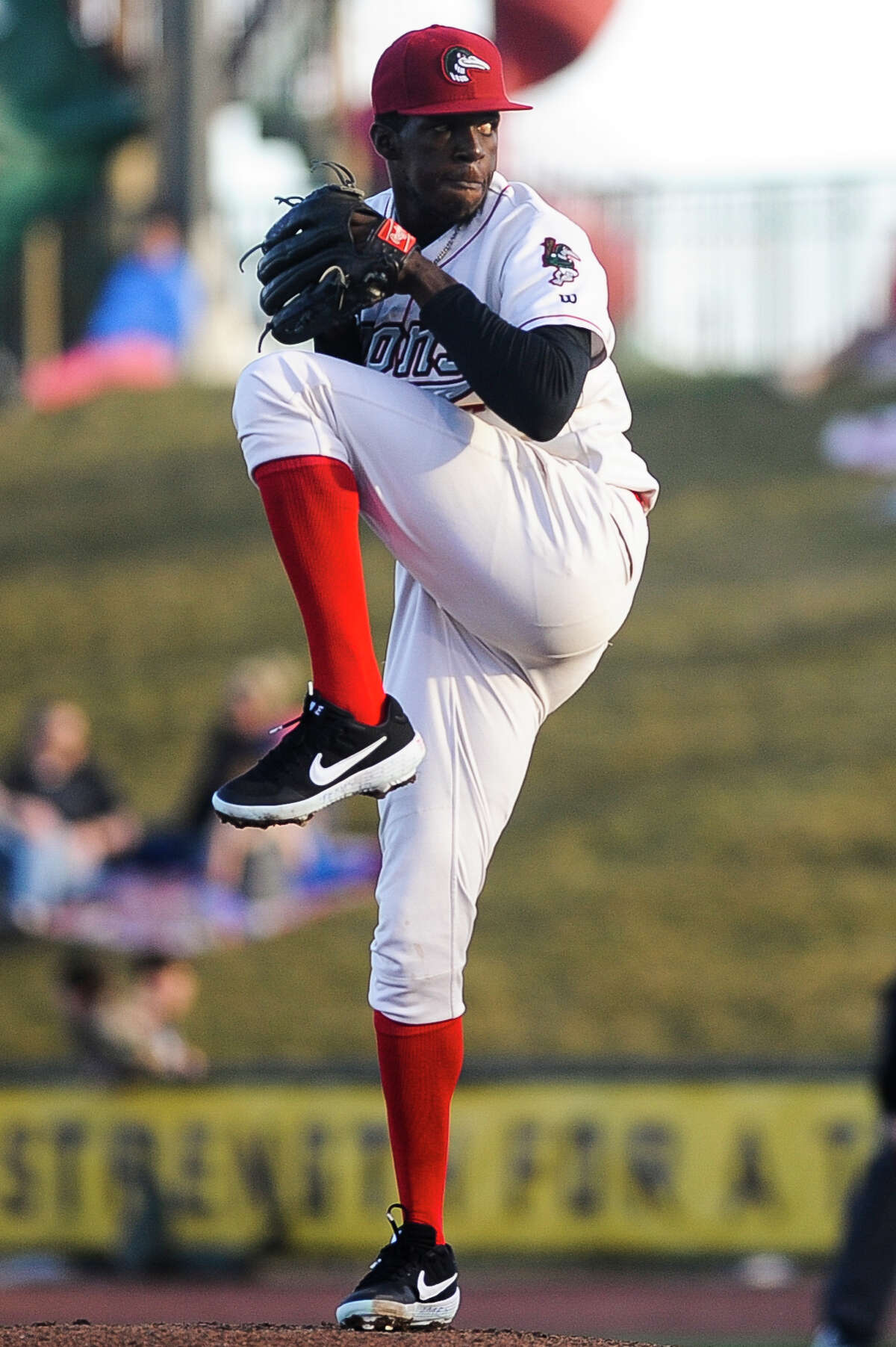 Great Lakes Loons pitcher Jeronimo Castro pitches the ball during a game against South Bend on Monday, April 8, 2019 at Dow Diamond. (Katy Kildee/kkildee@mdn.net)