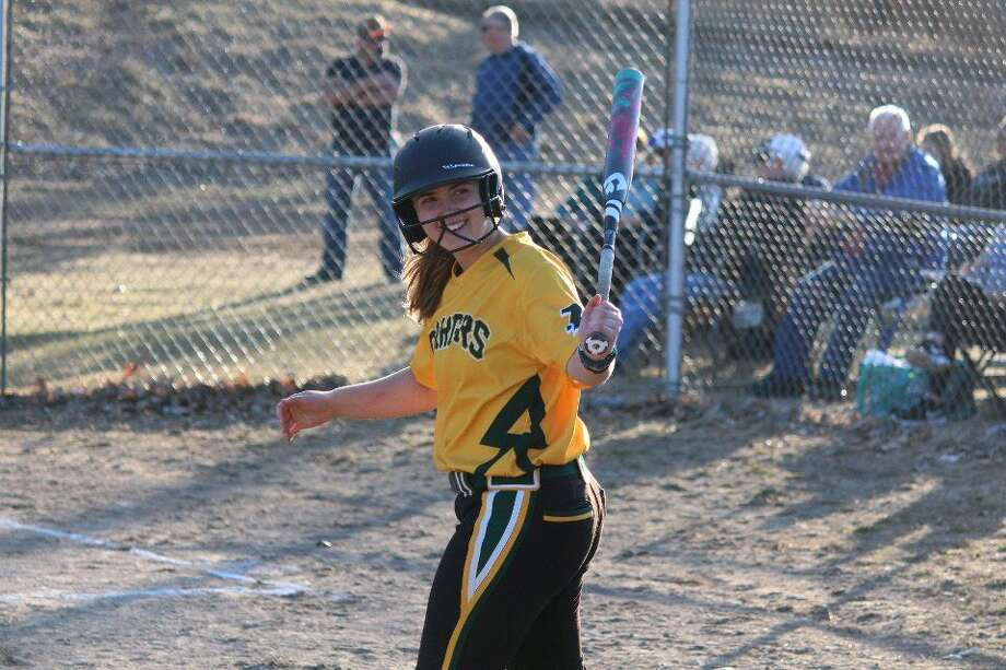 Dow High's Lilly D'Alessandro gets ready in the on-deck circle during Monday's doubleheader against Gladwin. Photo: Photo Provided