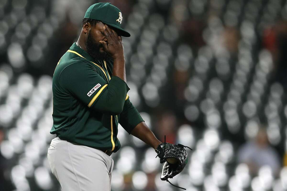 BALTIMORE, MARYLAND - APRIL 08: Pitcher Fernando Rodney #56 of the Oakland Athletics reacts after a run was scored against the Baltimore Orioles during the eighth inning at Oriole Park at Camden Yards on April 8, 2019 in Baltimore, Maryland. (Photo by Patrick Smith/Getty Images)