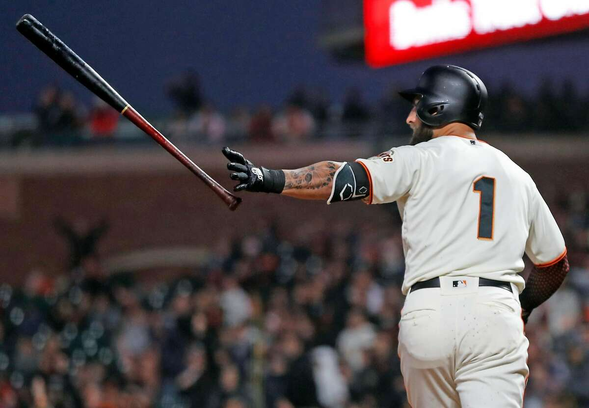 San Francisco Giants' Kevin Pillar drops his bat after hitting grand slam in 4th inning against San Diego Padres during MLB game at Oracle Park in San Francisco, Calif., on Monday, April 8, 2019.