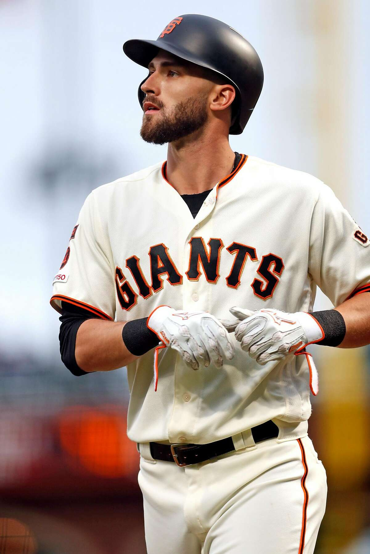 San Francisco Giants' right fielder Steven Duggar reacts to lining out in 1st inning against San Diego Padres during MLB game at Oracle Park in San Francisco, Calif., on Monday, April 8, 2019.