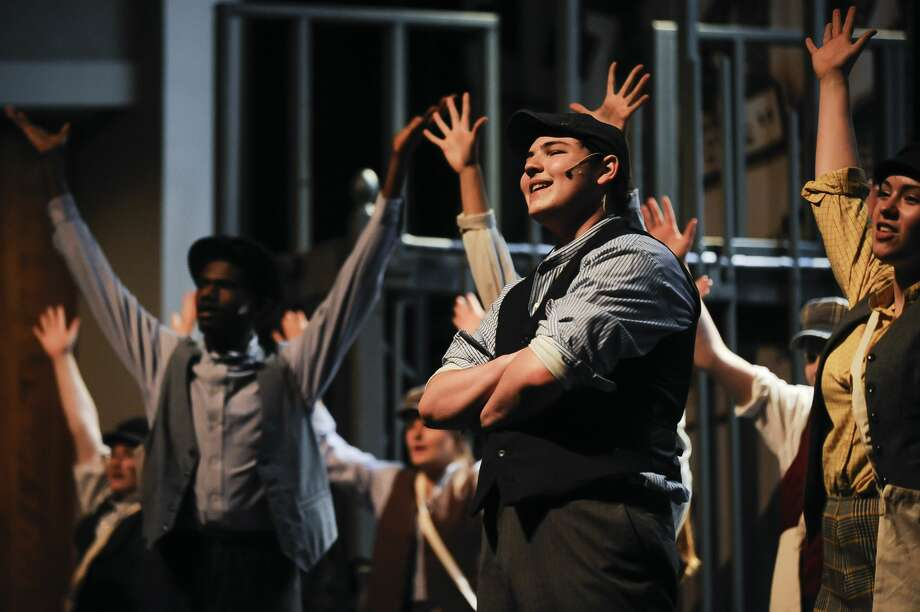 "AJ Rock in the role of Jack Kelly acts out a scene during a dress rehearsal for Midland High School's production of ""Newsies"" on Monday, April 8, 2019 at Central Auditorium. (Katy Kildee/kkildee@mdn.net) Photo: (Katy Kildee/kkildee@mdn.net)"