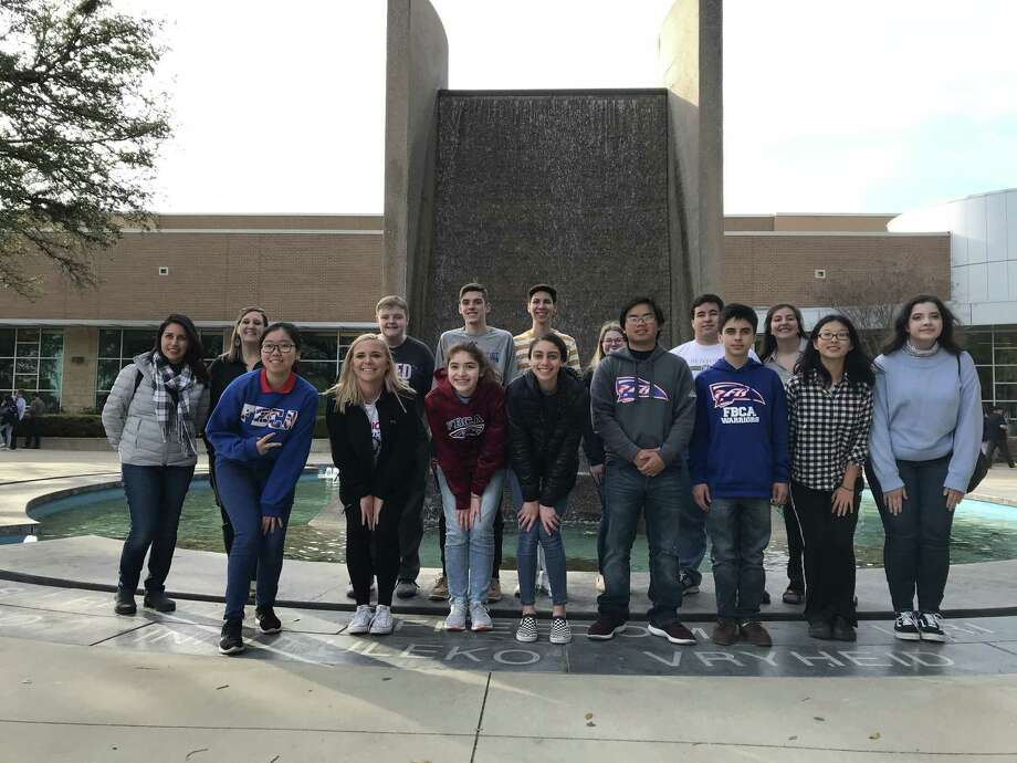 The Pasadena-FBCA students take time out from the competition to pose for a picture in front of Waco's Freedom Fountain, located in front of the convention center. Photo: Robert Avery