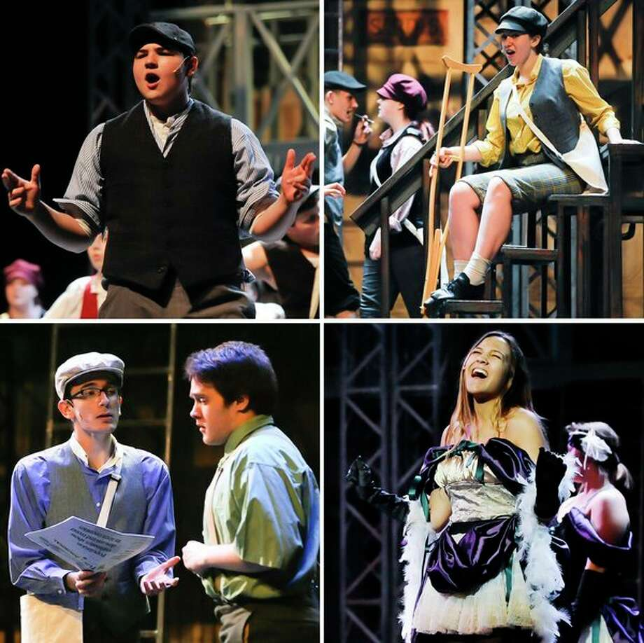 Clockwise from top left: AJ Rock in the role of Jack Kelly, Hannah Woehrle in the role of Crutchie, Emma Browne in the role of Medda and Ethan Dotson in the role of Davey act out various scenes during a dress rehearsal for Midland High's production of Newsies on Monday at Central Auditorium. For more photos, go to www.ourmidland.com. (Katy Kildee/kkildee@mdn.net)