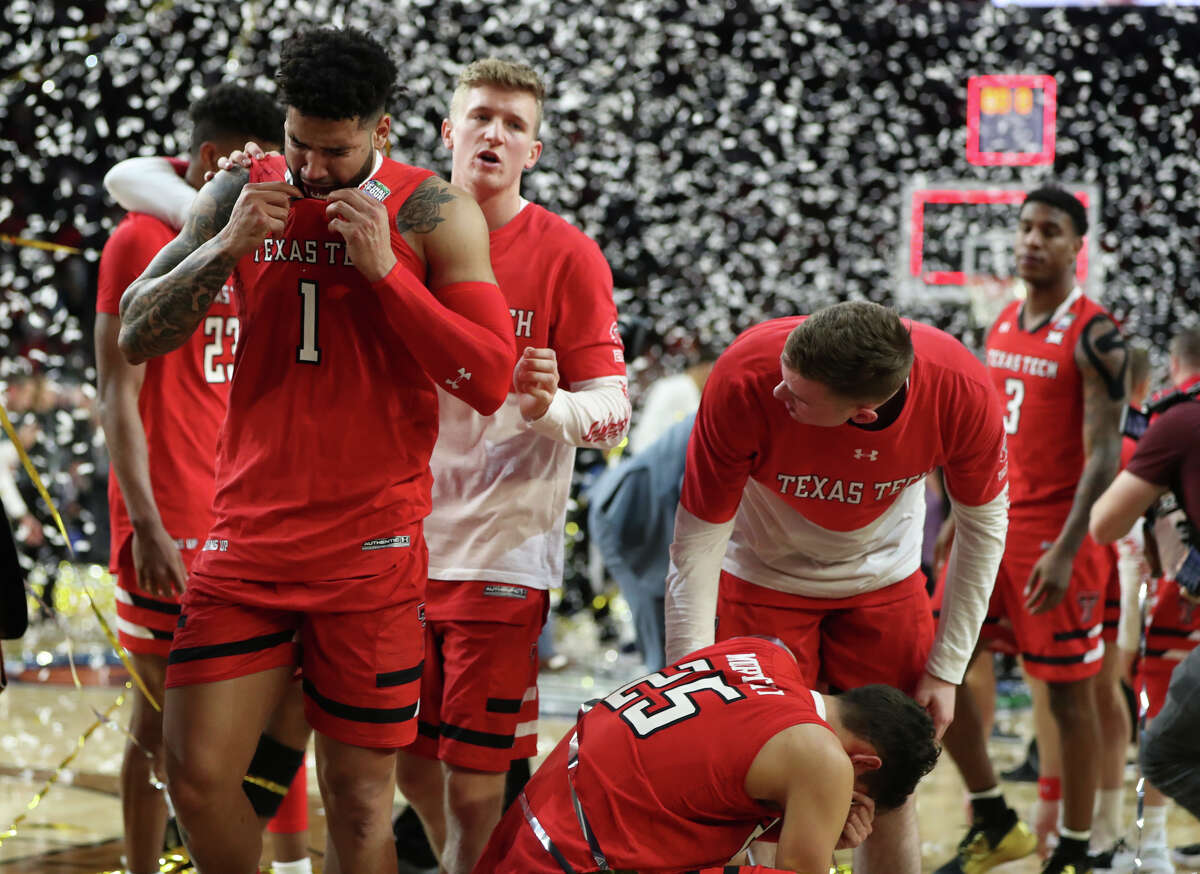 Texas Tech's Brandone Francis (1) reacts with teammates after a loss to University of Virginia during the NCAA Division I Men's Basketball championship, April 8, 2019, at U.S. Bank Stadium in Minneapolis. James Durbin / Reporter-Telegram