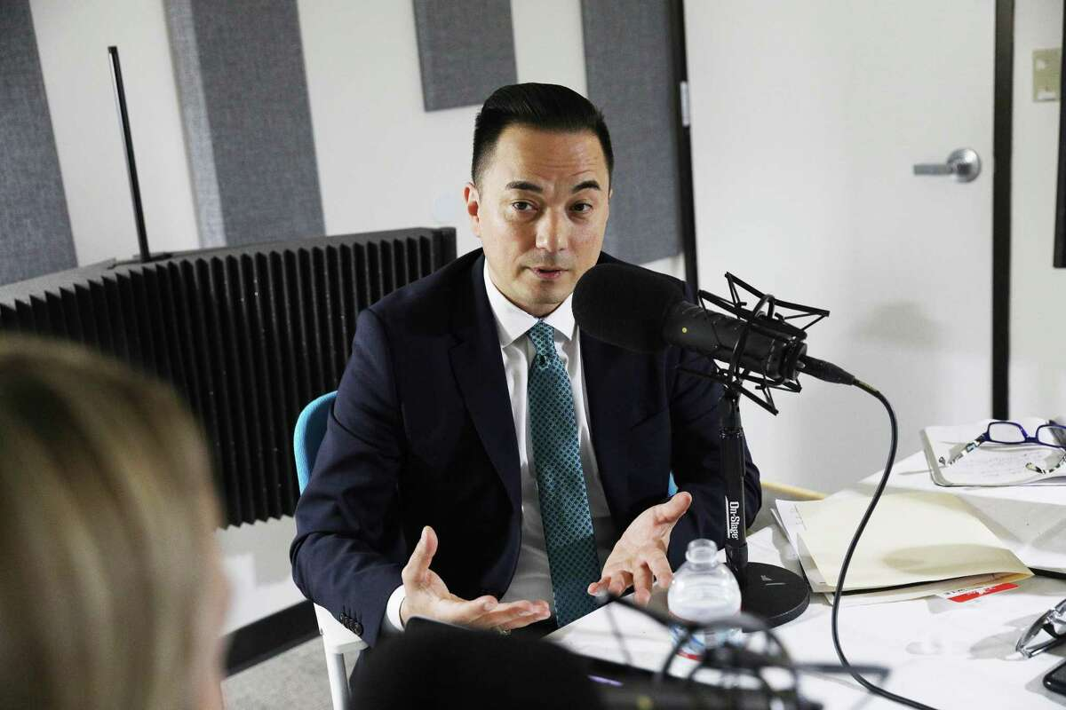 Michael Lambert (right), who Mayor London Breed has just named the city's librarian, talks during a podcast with reporter Heather Knight (left) on Wednesday, March 27, 2019 in San Francisco, Calif.