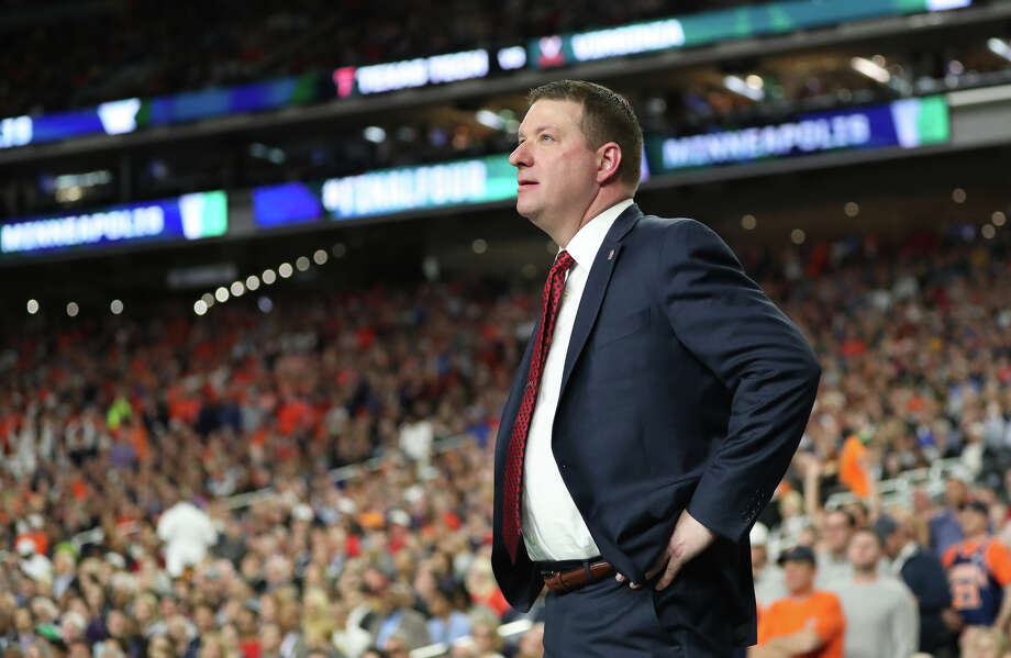 Texas Tech head basketball coach Chris Beard looks on during the NCAA Division I Men's Basketball championship against University of Virginia, April 8, 2019, at U.S. Bank Stadium in Minneapolis. James Durbin / Reporter-Telegram Photo: James Durbin / Midland Reporter-Telegram / ? 2019 All Rights Reserved