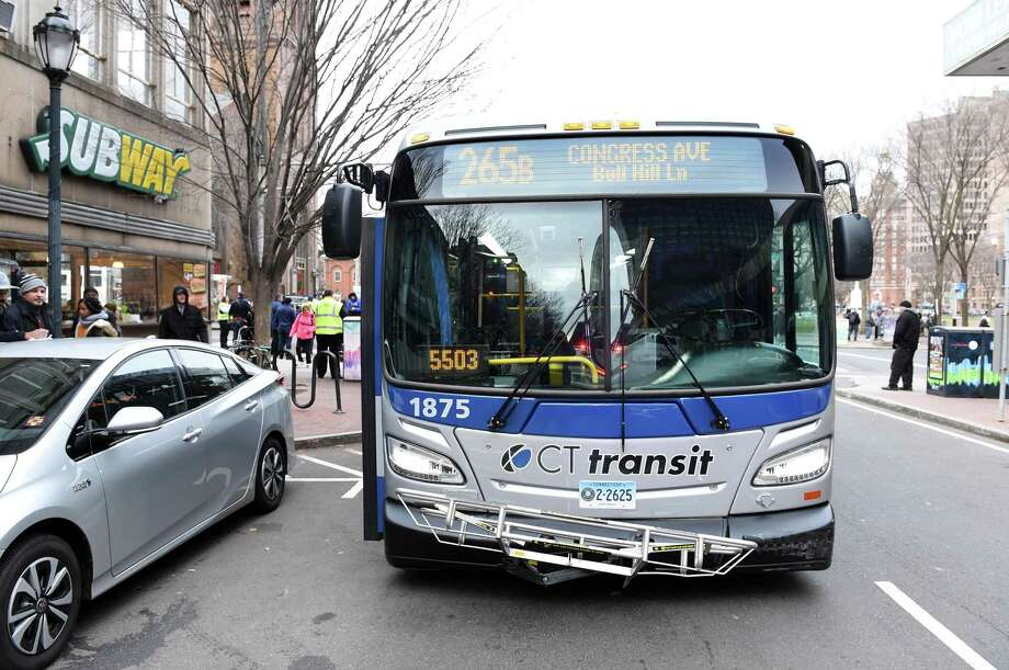 CT Transit officials are promising safety upgrades after two bus drivers were spit on by passengers in New Haven last week. The assaults come just days after a video surfaced of a passenger attacking a CT Transit bus driver with a cane. Photo: Arnold Gold / Hearst Connecticut Media / New Haven Register